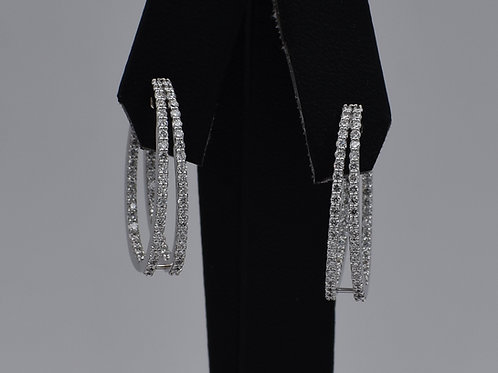 Double Row Inside-Out Diamond Hoop Earrings