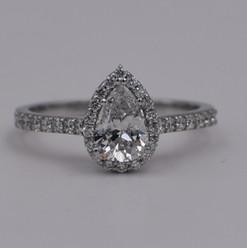 Pear Shape Halo Diamond Engagement Ring