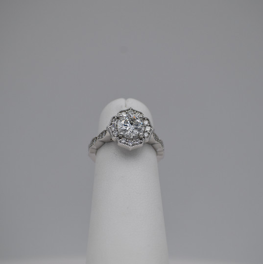 Round Floral Halo Diamond Engagement Ring