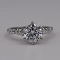 Round Tapered Band Diamond Engagement Ring