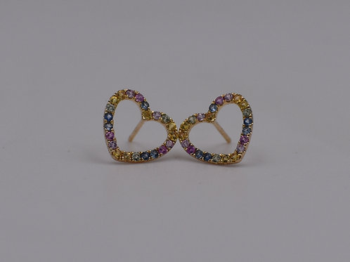 Color Stone Heart Earrings