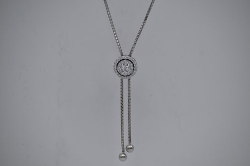 Diamond Cluster Zip Lariat Necklace