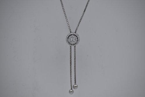 Diamond Cluster Zip Lariat Necklace