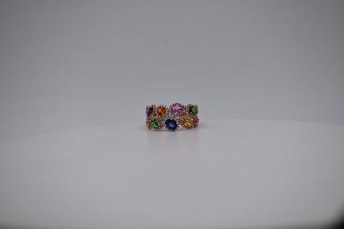 Color Stone Diamond Halo Ring