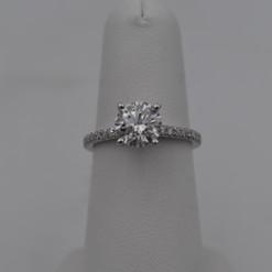 4 Prong Round French Set Diamond Engagement Ring