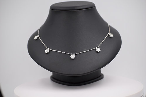 Diamond 5-Flower Necklace