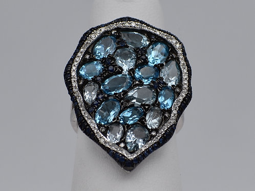 Blue Topaz and Sapphire Ring