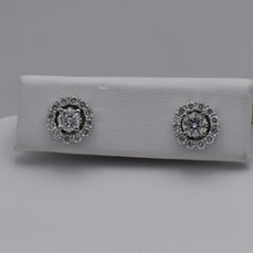 14 Karat White Gold Diamond Studs with Halo Earring Jackets