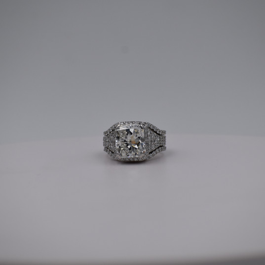 Radiant Cut Micro Pave Diamond Engagement Ring with Matching Contour Wedding Bands