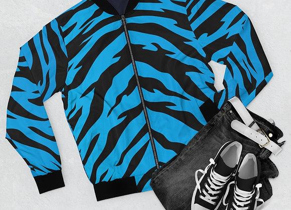 Blue Tiger Pattern Joe Exotic-style Bomber Jacket Carolina Panthers Colors