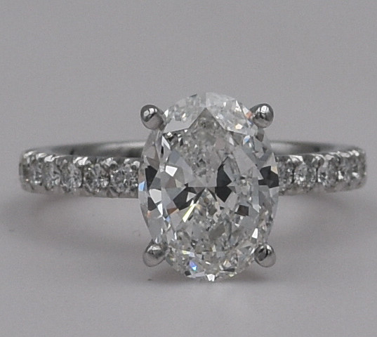 Oval French Set Diamond Engagement Ring