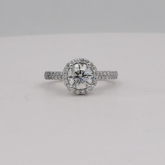 Round Halo Double Row Band Diamond Engagement Ring