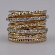 14 Karat Yellow Gold Crossover Diamond Gold Band