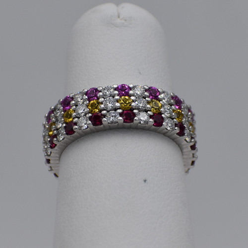 Platinum Stackable Diamond and Birthstone Mother Rings