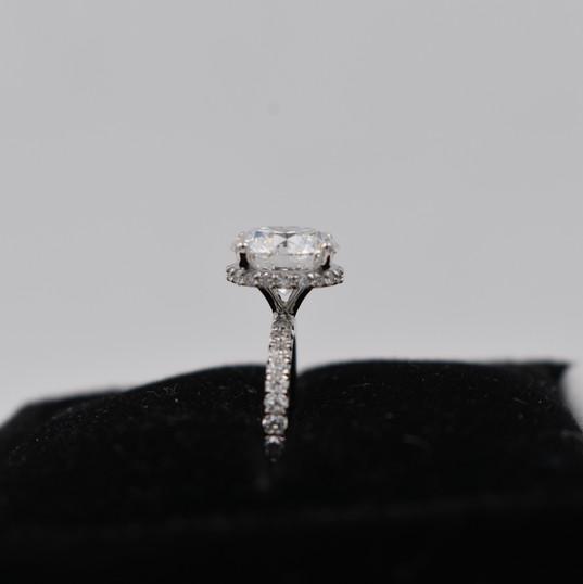 Round Side Halo Diamond Engagement Ring
