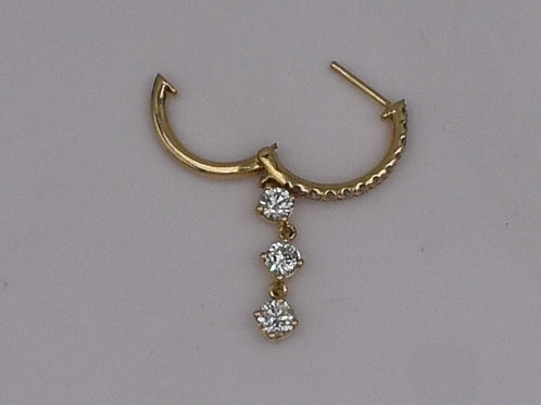 Diamond Dangle Hoop Earrings