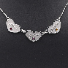 14 Karat White Gold Mothers Heart Necklace with Names and Birthstones