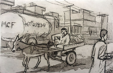 Rory Brooke, Donkey Cart Etching.jpg