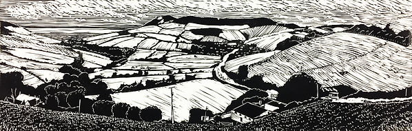 Rory Brooke A35 Through Chideock Linocut