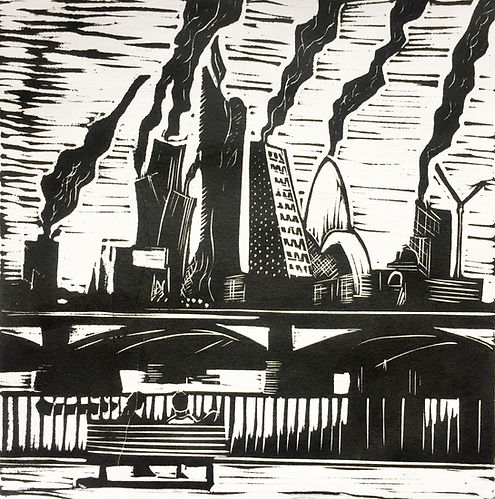 Rory Brooke, Food for Thought Linocut
