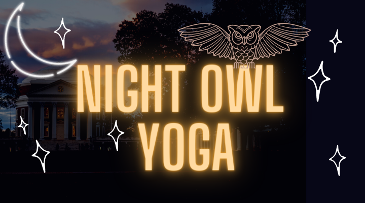 I teach Night Owl Yoga for UVA CSC Wednesday Nights at 8pm on Zoom! Click the photo to sign up for free!