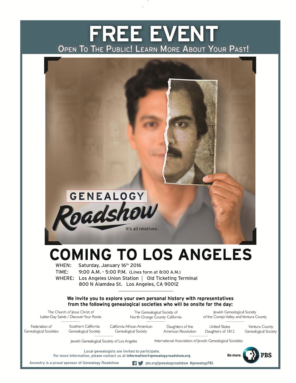 Genealogy Roadshow LA 2016 Poster