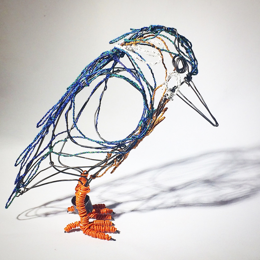 A very focused Kingfisher landed at Chapel Arts Gallery for their latest exhibition. He is made from hand sewn cotton wire depicting the marvellous iridescence and recycled wire feet. Make something beautiful out of something discarded.