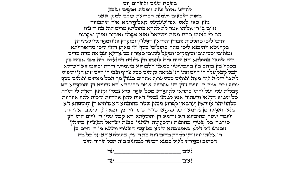 Ketubah Text Only