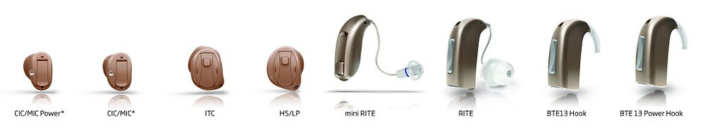 Different hearing aid styles offered by Cedar Rapids Hearing Center