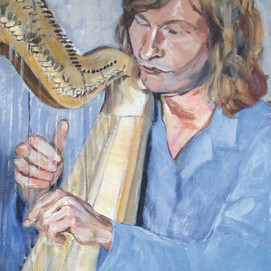 """Heikki Puska playing harp"", 2007."