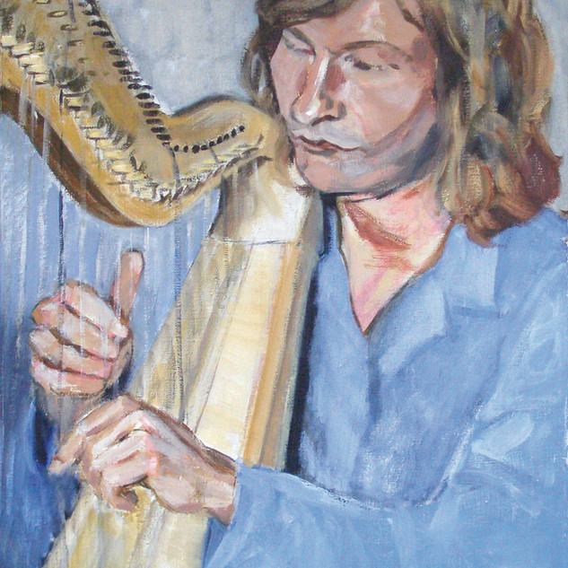 """Heikki Puska playing harp"", 2007."