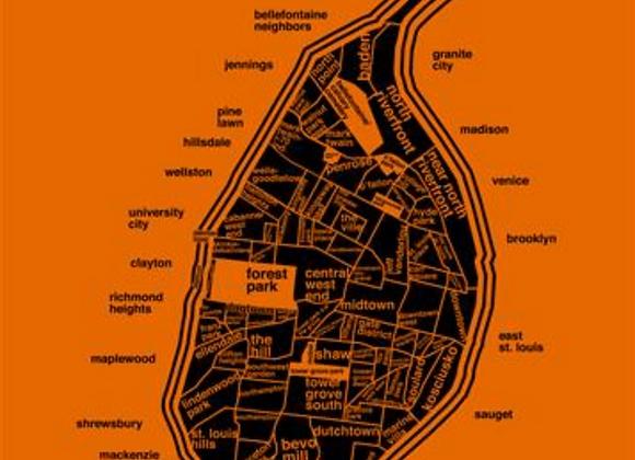 "City of St. Louis Neighborhoods digital print (11""x14"") - Orange"