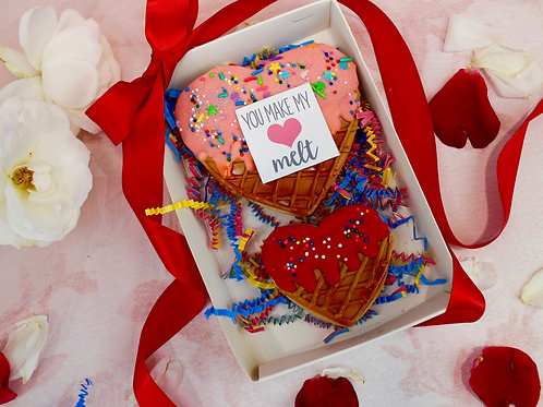 Heart ice cream cookie set