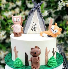 Baby shower Animal Camping cake theme__#