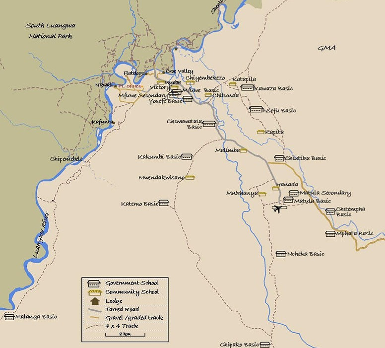 Map of the schools in the South Luangwa valley
