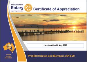Frankston North Rotary Club. Certificate of appreciate for Lachlan Allen, Osteopath in Mount Eliza, for his presentation on osteoarthritis