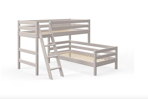 Lit surélevé avec lit simple gris