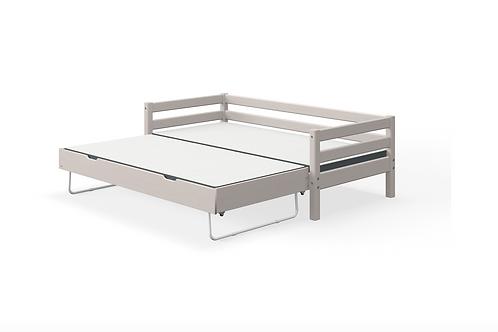 Lit simple gris avec lit gigogne