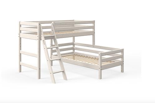 Lit surélevé avec lit simple blanchi