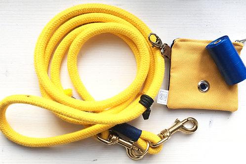 Guinzaglio LUNGO estendibile, regolabile in lunghezza in corda nautica GIALLA
