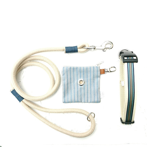 BLUE  Pack - Guinzaglio+Collare+Portasacchettini