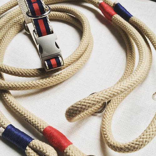 MARINE - Guinzaglio in corda Naturale con impiombature colorate