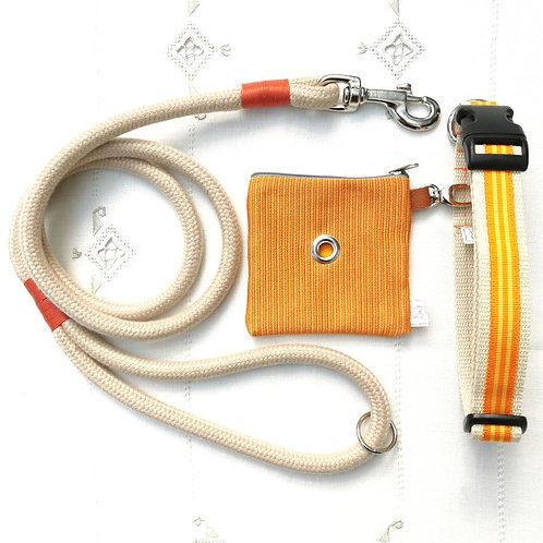 ORANGE Pack - Guinzaglio+Collare+Portasacchettini
