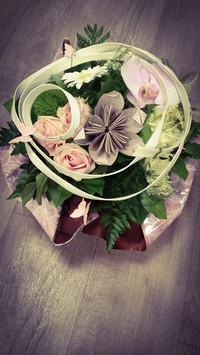 Bouquet rond avec sa fleur en origami