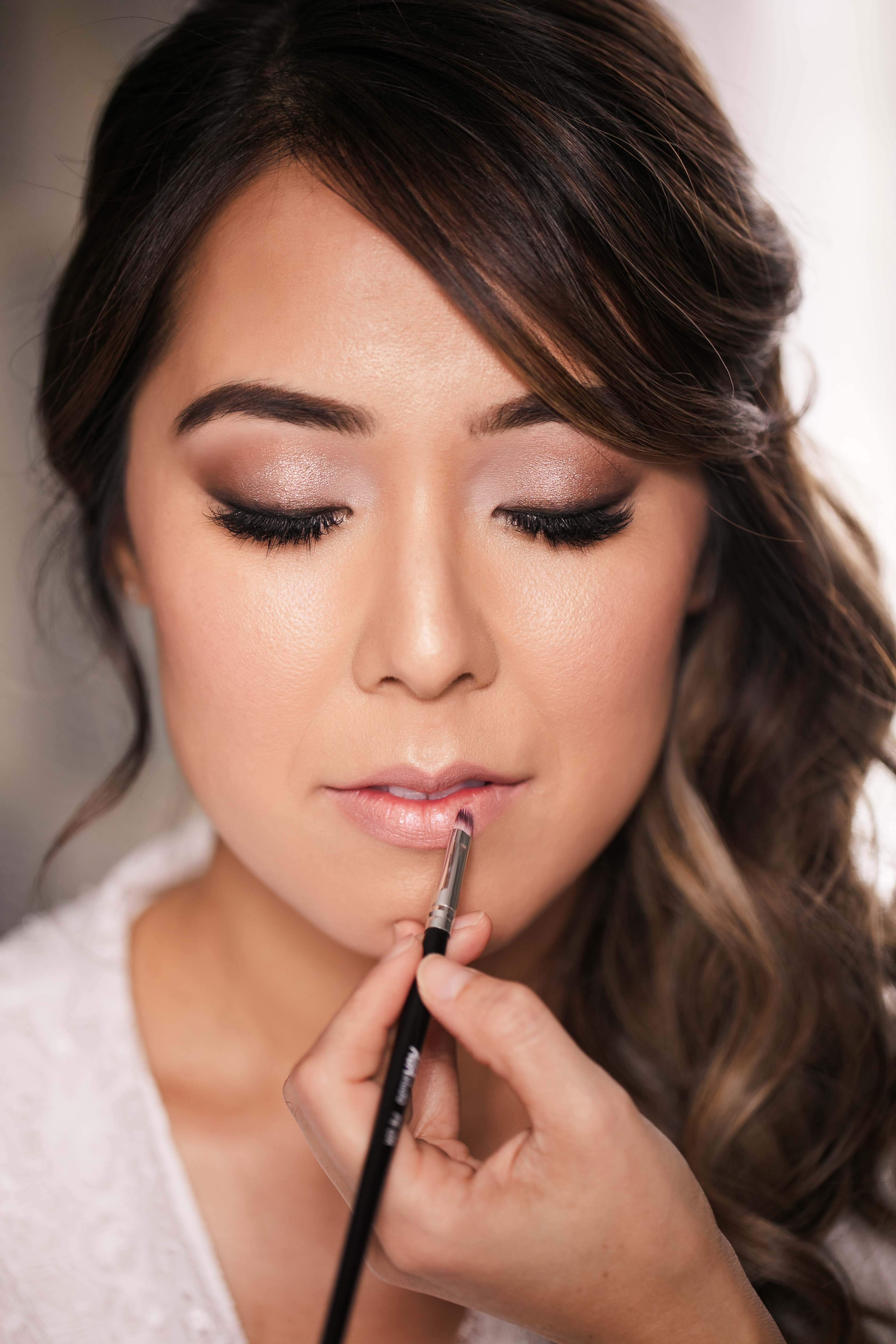 Asian bride's makeup on her wedding day