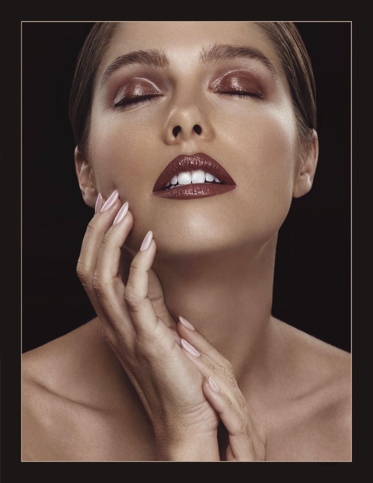 Glossy eye lids published in Elegant Magazine