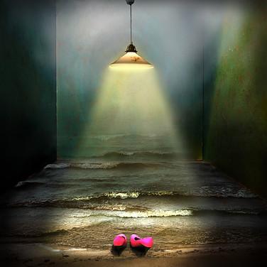 Rosa skor i lampsken.