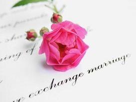 Pink flower upon Wedding INvitation