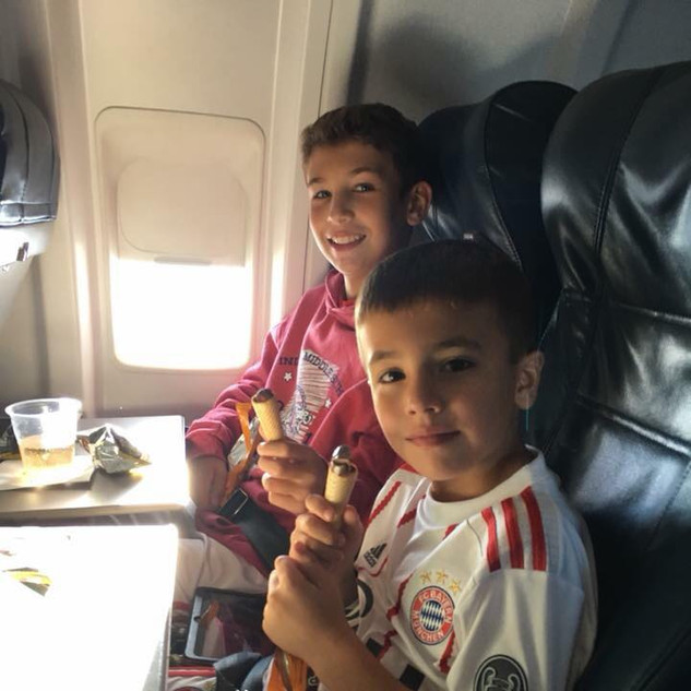 In flight to Hungary
