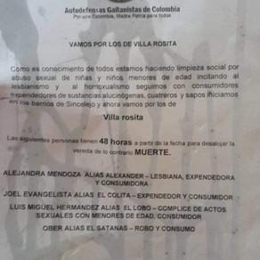 CIRCULA PANFLETO AMENAZANTE EN VILLA ROSITA
